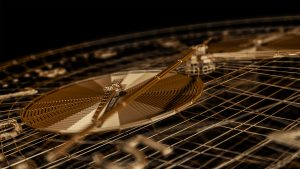 3D animator Adam Wilkes created a 3D golden watch face wireframe for Style frames project